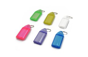 KEY RING WITH TAG CLEAR COLORED 5x2,3cm